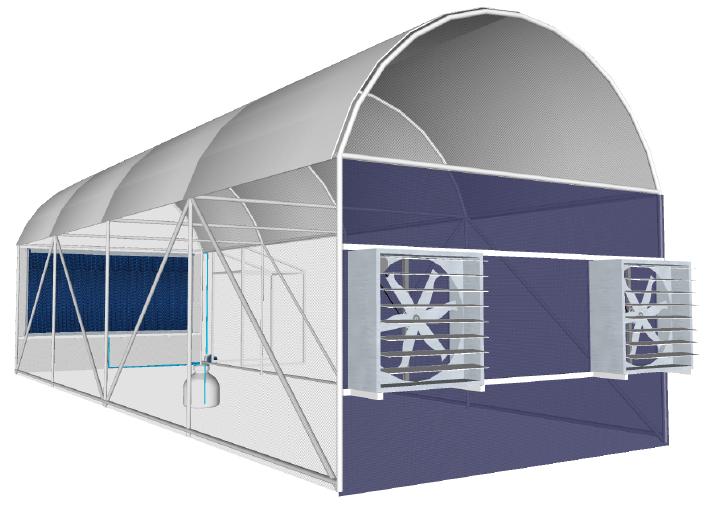 โรงเรือนระบบอีแว๊ป (Evaporative Cooling System) เป็นระบบฟาร์มปิด สามารถความคุมอุณหภูมิและความชื้นให้คงที่ โรงเรือนระบบอีแวปยังสามารถป้องกันแมลงรวมถึงการเพิ่มผลผลิตให้ออกนอกฤดูกาลได้